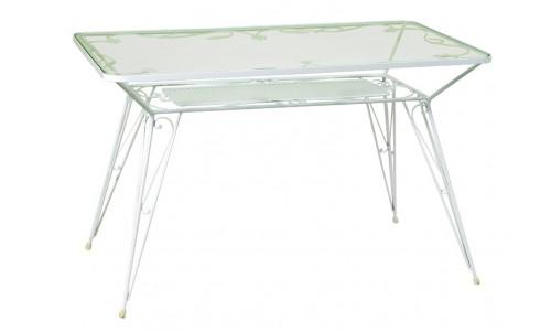 Τραπέζι Παραλληλόγραμμο Μασίφ με Φύλλα και κρύσταλλο