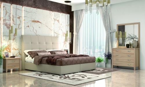 Κρεβάτι  ντυμένο Νο60 Μπεζ με αποθηκευτικό