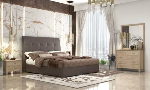 Κρεβάτι  ντυμένο Νο60 Kαφέ  με αποθηκευτικό