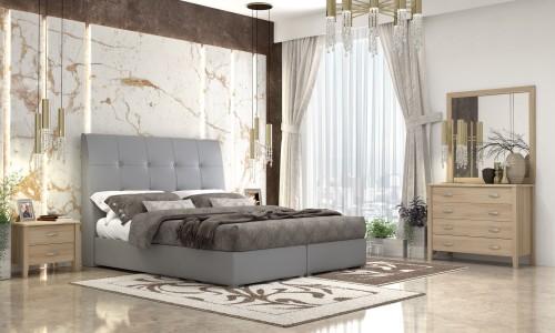 Κρεβάτι  ντυμένο Νο60 Γκρι  με αποθηκευτικό
