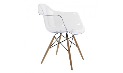 Καρέκλα πολυθρόνα Quadra-Wood-διάφανη