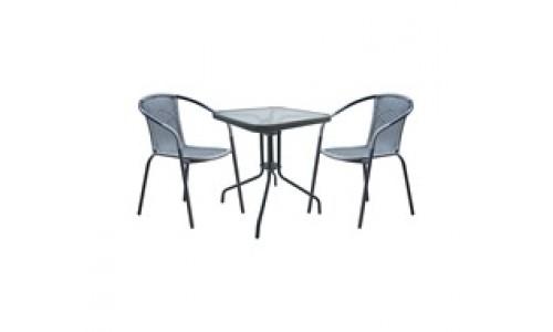 Τραπέζι σετ  BALENO Γκρι με 2 πολυθρόνες