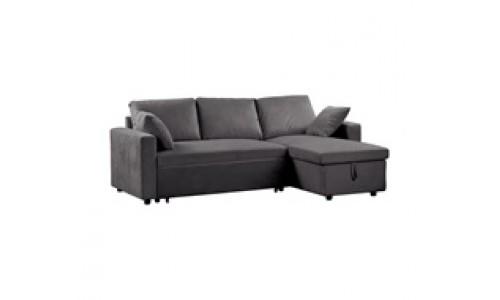 Γωνιακός Καναπές MONTREAL Κρεβάτι Microfiber Γκρι