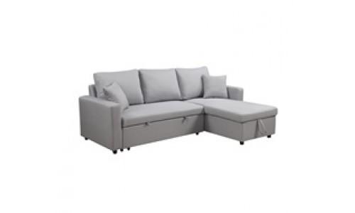 Γωνιακός Καναπές MONTREAL Κρεβάτι Ύφασμα Ανοιχτό Γκρι