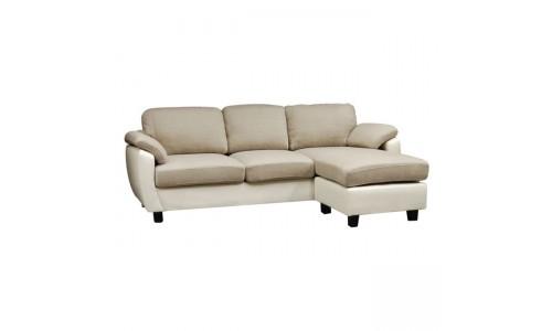 Καναπές Γωνία JOLLY Ύφασμα Μπεζ/PVC Άσπρο