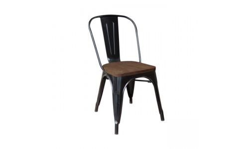 Καρέκλα RELIX Wood Dark Oak Μαύρη High