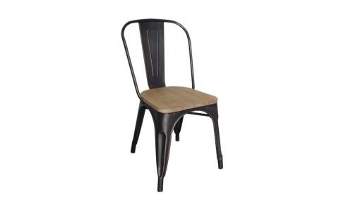 Καρέκλα RELIX Wood Natural Oak Antique Black High