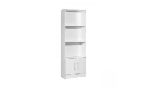 Βιβλιοθήκη DECON Άσπρη με ντουλάπι