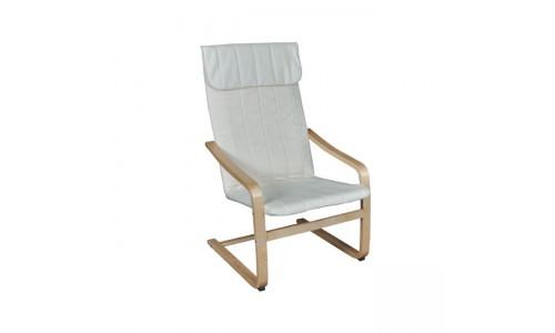 Πολυθρόνα HAMILTON Σημύδα/Ύφασμα Λευκό