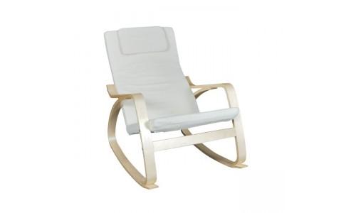 Πολυθρόνα HAMILTON Rocky Σημύδα/Ύφασμα Λευκό