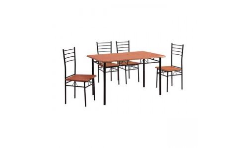 Τραπέζι Set VELLINO Μεταλλικό Μαύρο/Κερασί