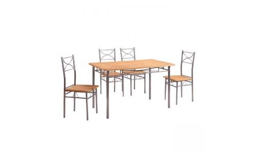 Τραπέζι Set LORETO Μεταλλικό Silver/Φυσικό