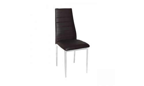 Καρέκλα JETTA Χρώμιο/PVC Σκούρο Καφέ