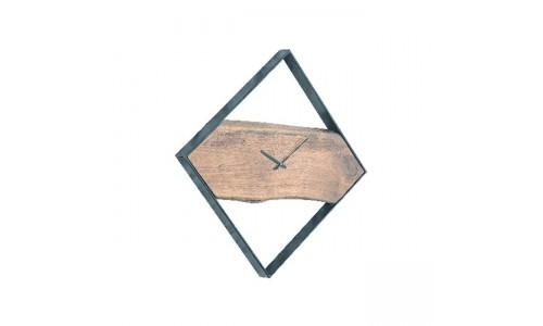 Ρολόι Τοίχου CLOCK-2 Ακακία Φυσικό/Μεταλικό Μαύρο