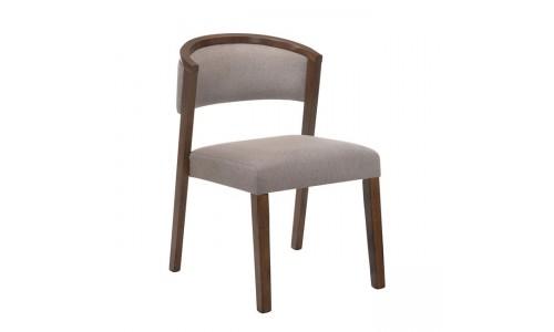 Καρέκλα KEVIN Καρυδί/Ύφασμα Ανοικτό Καφέ