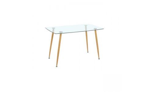 Τραπέζι ROBY Μεταλλική Βαφή Φυσικό/Γυαλί 120x70cm