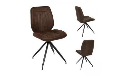Καρέκλα DONNA Μεταλλική Μαύρη/Ύφασμα Καφέ