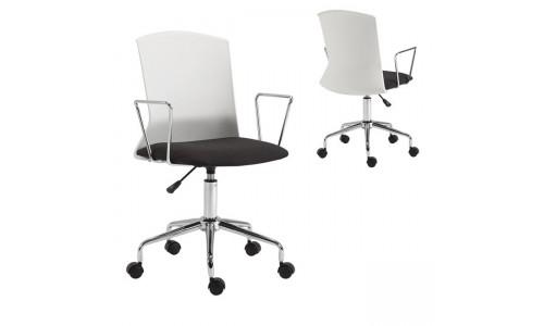 Πολυθρόνα PP Άσπρο/Ύφασμα Μαύρο