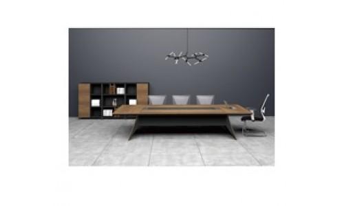 Τραπέζι Συνεδρίου PROLINE Καρυδί/Μαύρο